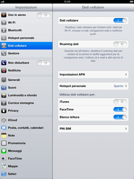Apple iPad Retina - Internet e roaming dati - disattivazione del roaming dati - Fase 5