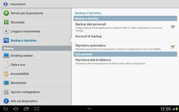 Samsung Galaxy Tab 2 10.1 - Dispositivo - Ripristino delle impostazioni originali - Fase 6