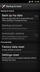 Sony Xperia J - Mobile phone - Resetting to factory settings - Step 5