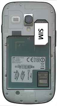 Samsung I8190 Galaxy S3 Mini - SIM-Karte - Einlegen - Schritt 3
