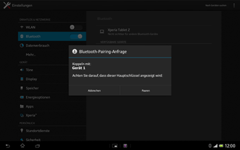 Sony Xperia Tablet Z LTE - Bluetooth - Geräte koppeln - Schritt 9