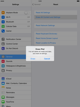 Apple iPad Air - Mobile phone - Resetting to factory settings - Step 7