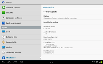 Samsung Galaxy Tab 2 10.1 - Software - Installing software updates - Step 6