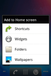 Alcatel OT-983 - Getting started - installing widgets and applications on your start screen - Step 3