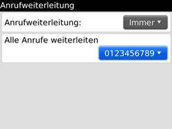 BlackBerry Bold - Anrufe - Rufumleitungen setzen und löschen - 1 / 1