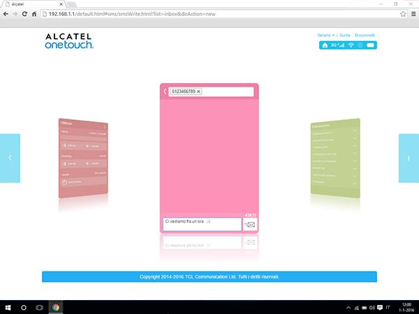 Alcatel MiFi Y900 - Impostazioni - Inviare SMS - Fase 5