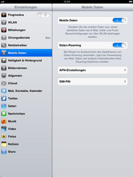 Apple iPad 2 - Ausland - Auslandskosten vermeiden - Schritt 6