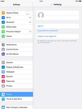Apple iPad mini - iOS 8 - Applications - Configuring the Apple iCloud Service - Step 5