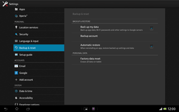 Sony Xperia Tablet Z LTE - Mobile phone - Resetting to factory settings - Step 5