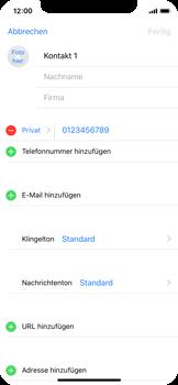 Apple iPhone X - Kontakte - Neuen Kontakt hinzufügen - 10 / 13