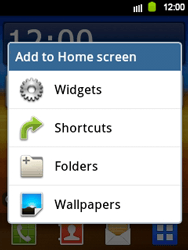 Samsung Galaxy Y - Getting started - Installing widgets and applications on your start screen - Step 3