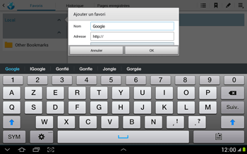 Samsung N8000 Galaxy Note 10-1 - Internet - navigation sur Internet - Étape 5