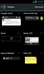 ZTE Blade III - Getting started - Installing widgets and applications on your start screen - Step 4