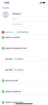 Apple iPhone XR - Contact, Appels, SMS/MMS - Ajouter un contact - Étape 9