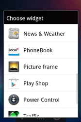 Alcatel OT-983 - Getting started - installing widgets and applications on your start screen - Step 4