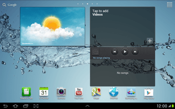 Samsung Galaxy Tab 2 10.1 - Getting started - Installing widgets and applications on your start screen - Step 1