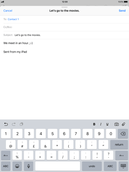 Apple iPad Pro (9.7) - iOS 11 - Email - Sending an email message - Step 8