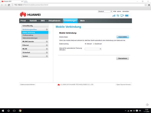 Huawei E5770 - Internet und Datenroaming - Deaktivieren von Datenroaming - Schritt 4