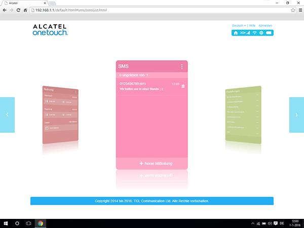 Alcatel MiFi Y900 - Einstellungen - Senden von SMS - Schritt 7