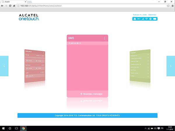 Alcatel MiFi Y900 - Paramètres - envoi de SMS - Étape 2