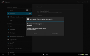 Sony SGP321 Xperia Tablet Z LTE - Bluetooth - connexion Bluetooth - Étape 9