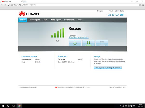 Huawei E5770 - Paramètres - Vérifier l'utilisation des données - Étape 1