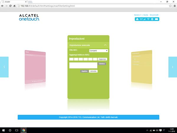 Alcatel MiFi Y900 - Impostazioni - abilitare filtro MAC - Fase 6