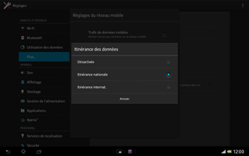 Sony Xperia Tablet Z LTE - Internet et roaming de données - Désactivation du roaming de données - Étape 7