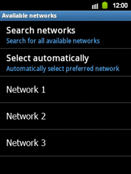 Samsung Galaxy Y - Network - Manual network selection - Step 7