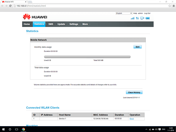 Huawei E5770 - Settings - Change usage settings - Step 4