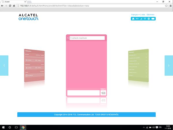 Alcatel MiFi Y900 - Paramètres - envoi de SMS - Étape 3