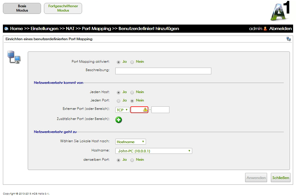 A1 WLAN Box ADB VV2220 - Portfreigabe einrichten, step 14