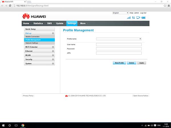 Huawei E5770 - Settings - View operator settings - Step 8