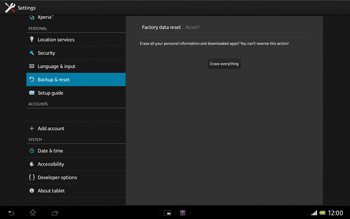Sony Xperia Tablet Z LTE - Mobile phone - Resetting to factory settings - Step 7