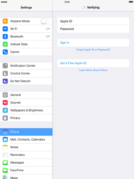 Apple iPad mini iOS 7 - Applications - configuring the Apple iCloud Service - Step 5