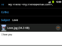 Samsung B5510 Galaxy TXT - E-mail - Sending emails - Step 13