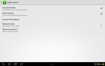 Samsung Galaxy Tab 2 10.1 - Internet and data roaming - Disabling data roaming - Step 8