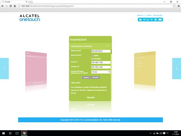 Alcatel MiFi Y900 - Impostazioni - abilitare filtro MAC - Fase 4
