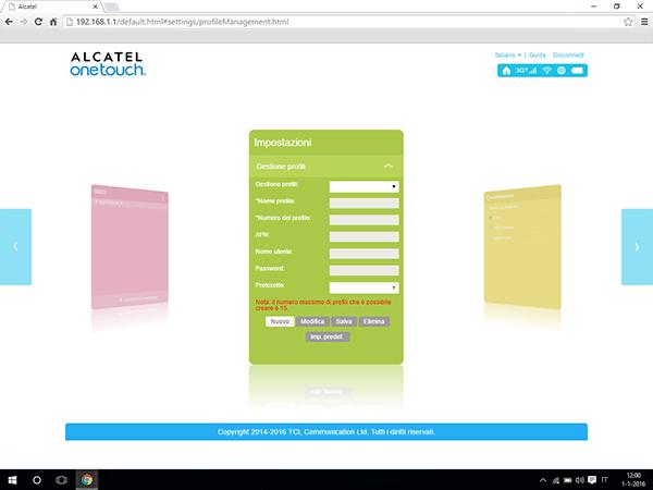 Alcatel MiFi Y900 - Impostazioni - Visualizzare le impostazioni dell