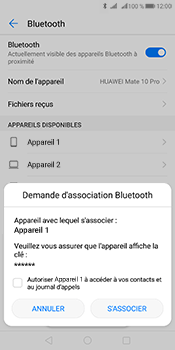 Huawei Mate 10 Pro - Internet et connexion - Connexion avec un équipement multimédia via Bluetooth - Étape 8