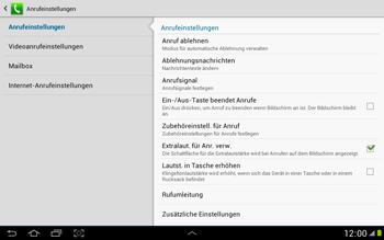 Samsung Galaxy Note 10-1 - Anrufe - Rufumleitungen setzen und löschen - 6 / 11