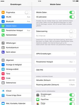Apple iPad Air - iOS 8 - Internet und Datenroaming - Prüfen, ob Datenkonnektivität aktiviert ist - Schritt 5