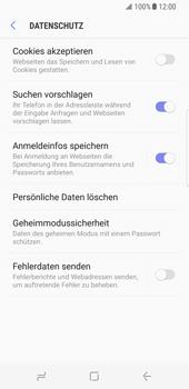 Samsung Galaxy S8 - Datenschutz und Sicherheit - Datenschutzeinstellungen des Browsers ändern - 10 / 18