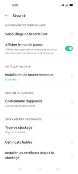 Oppo A72 - Sécuriser votre mobile - Personnaliser le code PIN de votre carte SIM - Étape 5