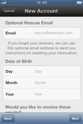 Apple iPhone 4 S - Applications - Create an account - Step 10
