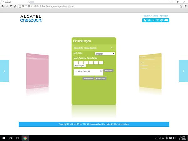 Alcatel MiFi Y900 - Einstellungen - MAC-Filter aktivieren - Schritt 11