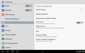 Samsung Galaxy Note 10-1 - Netzwerk - Netzwerkeinstellungen ändern - 5 / 9