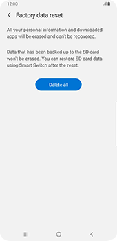 Samsung Galaxy Note9 - Android Pie - Mobile phone - Resetting to factory settings - Step 8