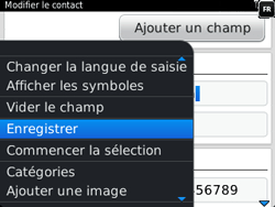 BlackBerry 9320 - Contact, Appels, SMS/MMS - Ajouter un contact - Étape 13