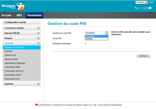 Huawei E5573B - Sécuriser votre mobile - Personnaliser le code PIN - Étape 6